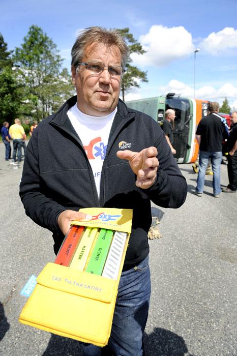 Jan Einar Andersen med armbåndene som skal markere priorieteringen på pasientenes behandling,