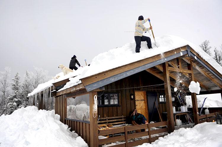 Etter en vinter med mye snø er det kjekt å få hjelp til å måke taket for snø. Mamma, svigerfar (Jens) og hundene på taket. Pappa i godstolen på verandaen.