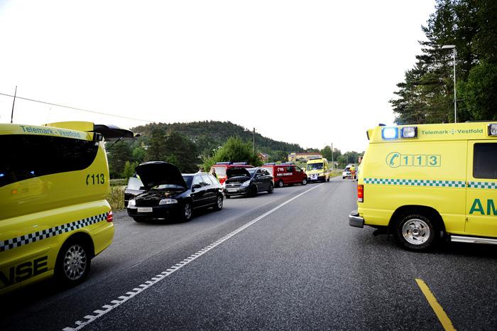 Trafikkulykke på E-18 i Bamble.